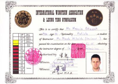 Si-Fu Marcin Błaszak - 4. stopień mistrzowski International Wing Tsun Association - certyfikat po angielsku
