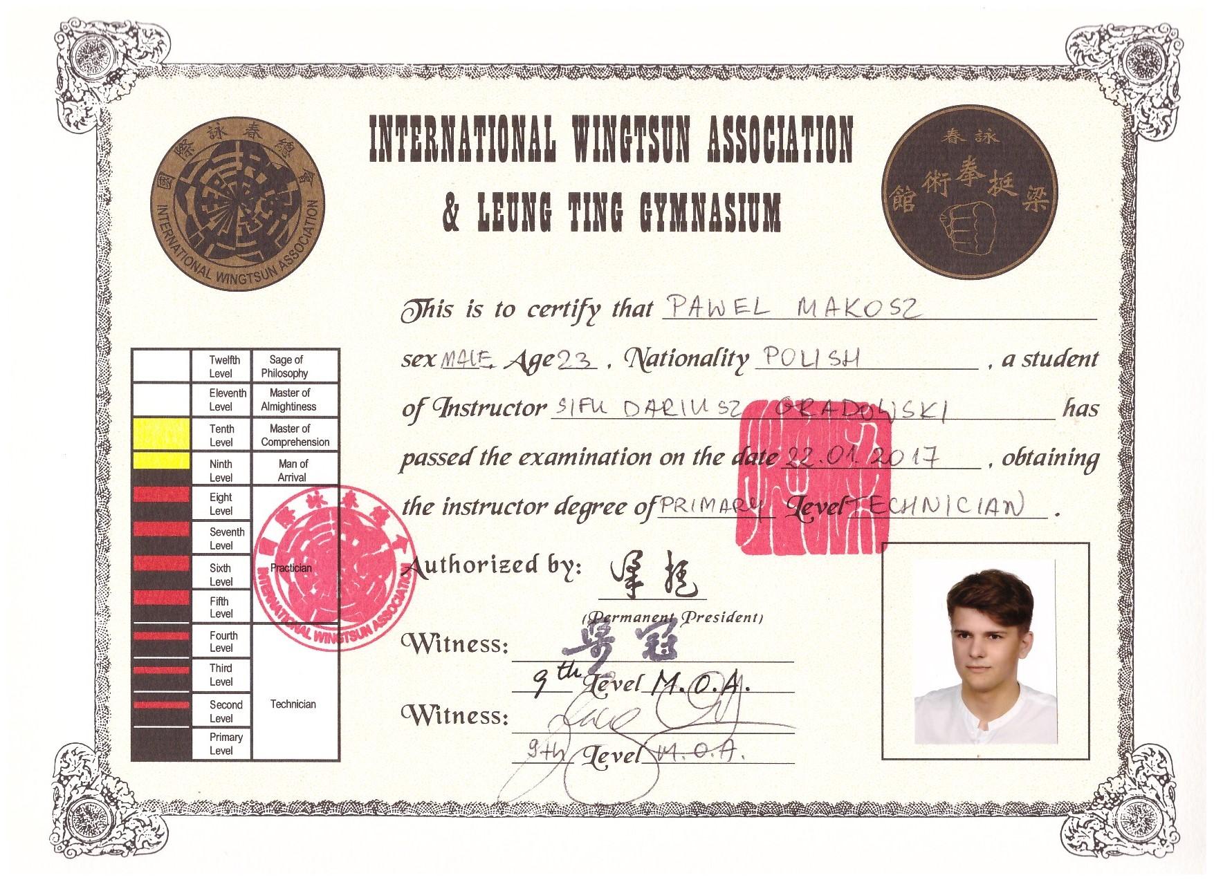 Si-Hing Paweł Makosz - 1. stopień mistrzowski International Wing Tsun Association - certyfikat ang
